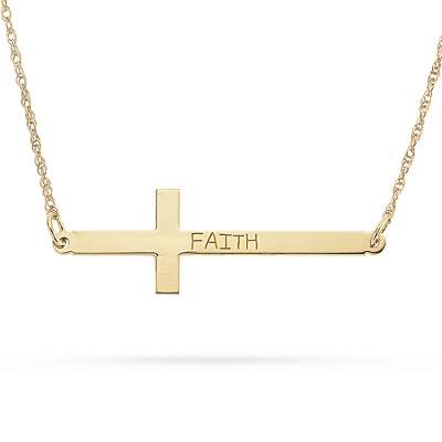 14KT Gold over Sterling Horizontal Cross Necklace with complimentary Filigree Keepsake Box - Sterling Silver Women's Jewelry