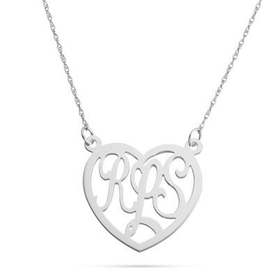 Sterling Silver Monogram Large Heart Necklace with complimentary Filigree Keepsake Box - $90.00