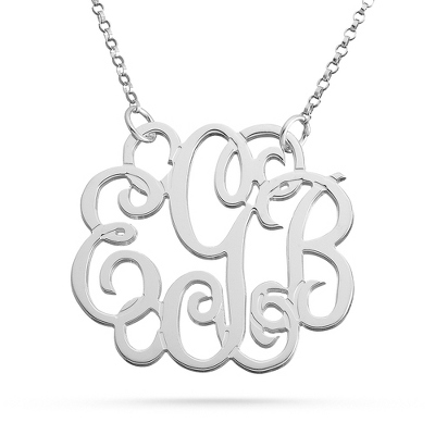 Sterling Silver Fancy Monogram Necklace with complimentary Filigree Keepsake Box - Sterling Silver Necklaces