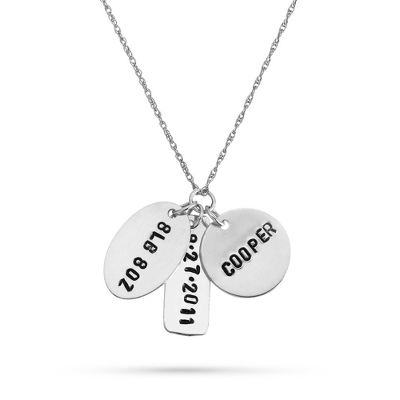 Sterling Hand-Stamped Baby's Name, Date and Weight Necklace with complimentary Filigree Keepsake Box - UPC 825008350670
