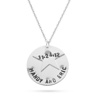 Hand Stamped Sterling Silver Couples Star and Disc Pendant with complimentary Filigree Keepsake Box