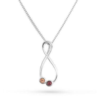 2 Stones Sterling Silver Eternal Family Birthstone Necklace with complimentary Filigree Keepsake Box