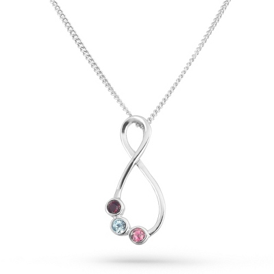 3 Stones Sterling Silver Eternal Family Birthstone Necklace with complimentary Filigree Keepsake Box - $50.99