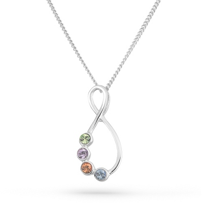 4 Stones Sterling Silver Eternal Family Birthstone Necklace with complimentary Filigree Keepsake Box