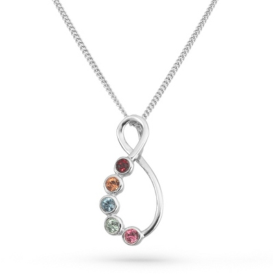 5 Stones Sterling Silver Eternal Family Birthstone Necklace with complimentary Filigree Keepsake Box - $70.00