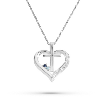 Sterling Birthstone and Diamond Accent Cross Necklace - Sterling Silver Necklaces