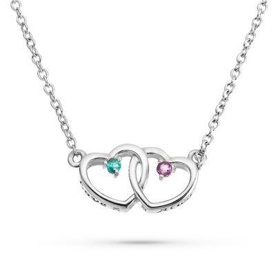"Sterling Silver Genuine Birthstone ""Love Always"" Necklace"