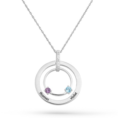 2 Stones Sterling Family Birthstone & Name Circle Pendant with complimentary Filigree Keepsake Box - $165.00