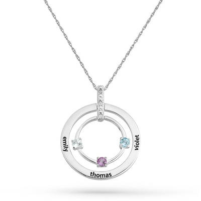 3 Stones Sterling Family Birthstone & Name Circle Pendant with complimentary Filigree Keepsake Box