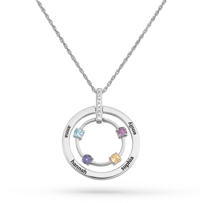 4 Stones Sterling Family Birthstone & Name Circle Pendant with complimentary Filigree Keepsake Box