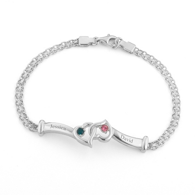 Sterling Silver Intertwined Hearts Birthstone Bracelet with complimentary Filigree Keepsake Box