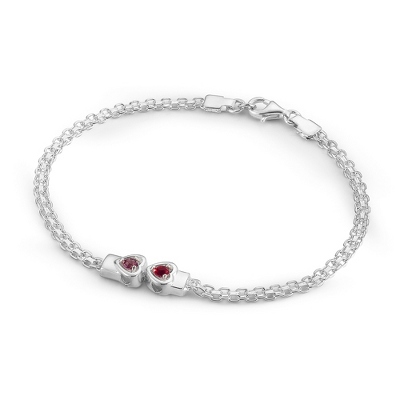 2 Stones Sterling Silver Running Hearts Birthstone Bracelet with complimentary Filigree Keepsake Box - UPC 825008350922