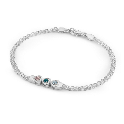 3 Stones Sterling Silver Running Hearts Birthstone Bracelet with complimentary Filigree Keepsake Box - Couple's Gifts