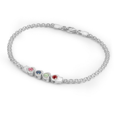4 Stones Sterling Silver Running Hearts Birthstone Bracelet with complimentary Filigree Keepsake Box - Couple's Gifts
