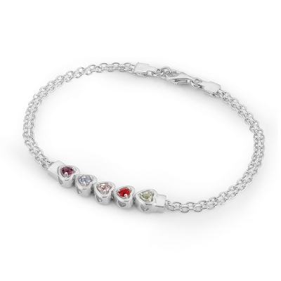 5 Stones Sterling Silver Running Hearts Birthstone Bracelet with complimentary Filigree Keepsake Box - Couple's Gifts