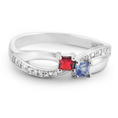 Sterling Silver Family 2 Birthstone & Diamond Accent Ring with complimentary Filigree Keepsake Box - $90.00