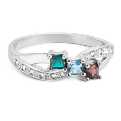 Sterling Silver Family 3 Birthstone & Diamond Accent Ring with complimentary Filigree Keepsake Box - UPC 825008351059
