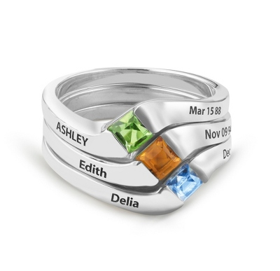 Sterling Silver Stackable Name and Birthstone 3 Rings with complimentary Filigree Keepsake Box