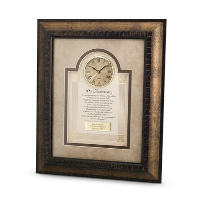 10th Anniversary Frame Clock - $90.00