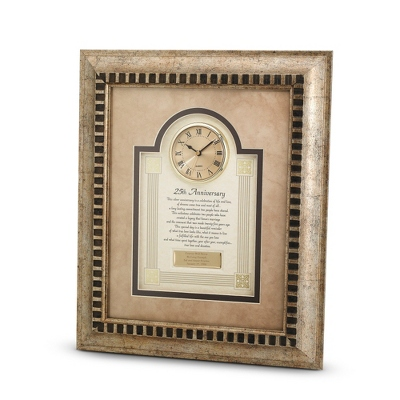 25th Anniversary Frame Clock - $90.00