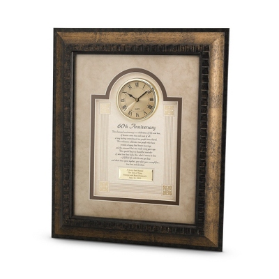 60th Anniversary Frame Clock - $90.00