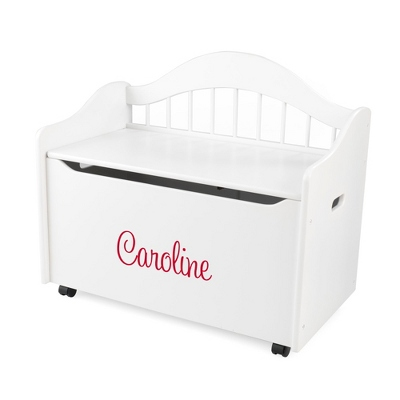 "33"" White Sit and Stow Toy Box with Red Name - $230.00"