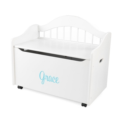 "33"" White Sit and Stow Toy Box with Turquoise Name - Children's Furniture"