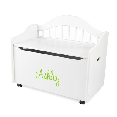 "33"" White Sit and Stow Toy Box with Lime Name - $230.00"