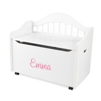 "33"" White Sit and Stow Toy Box with Pink Name - Children's Furniture"
