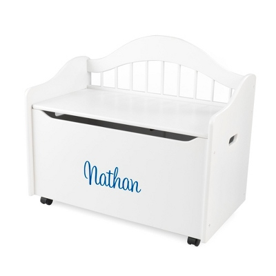 "33"" White Sit and Stow Toy Box with Blue Name - $230.00"