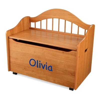"33"" Honey Sit and Stow Toy Box with Blue Name"