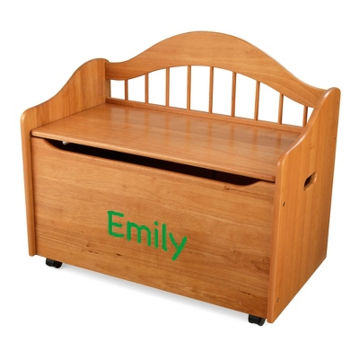 "33"" Honey Sit and Stow Toy Box with Green Name - Furniture"
