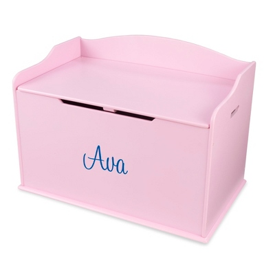 "30"" Pink Busy Bee Toy Box with Blue Name"