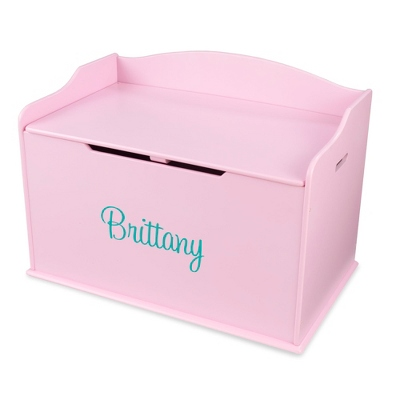"30"" Pink Busy Bee Toy Box with Aqua Name - Children's Furniture"