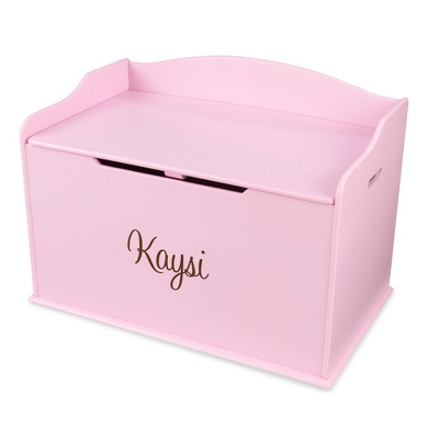 "30"" Pink Busy Bee Toy Box with Brown Name"