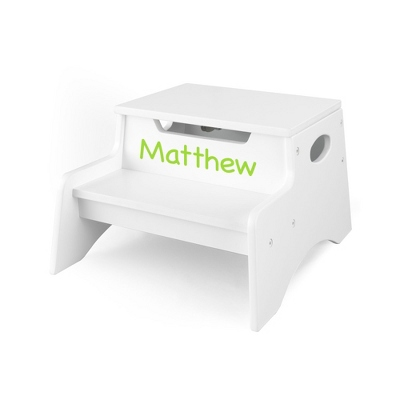 White Little Stepper Storage Step Stool with Lime Name
