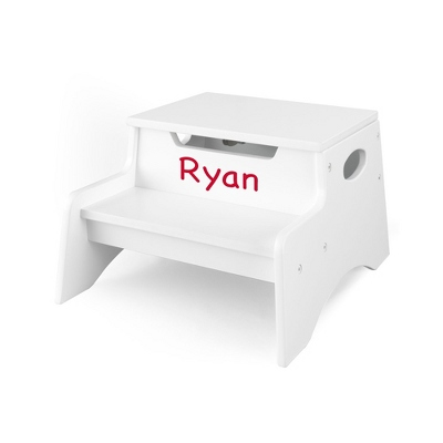 White Little Stepper Storage Step Stool with Red Name