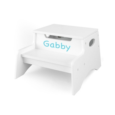 White Little Stepper Storage Step Stool with Turquoise Name