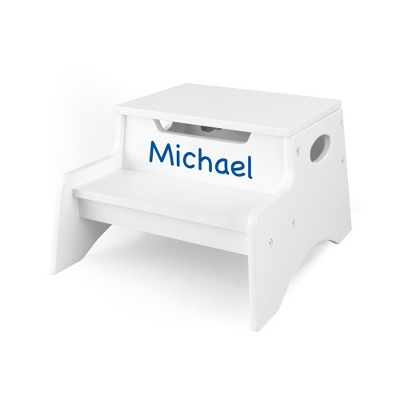 White Little Stepper Storage Step Stool with Blue Name