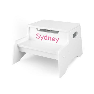 White Little Stepper Storage Step Stool with Pink Name