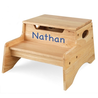 Natural Little Stepper Storage Step Stool with Blue Name