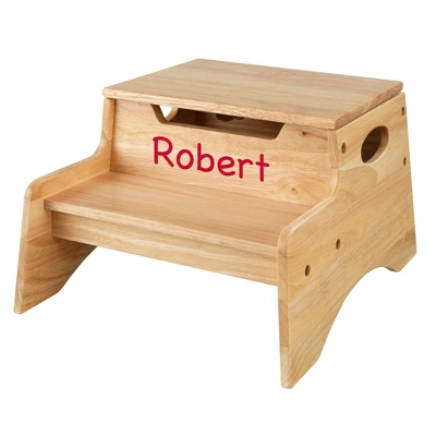 Natural Little Stepper Storage Step Stool with Red Name