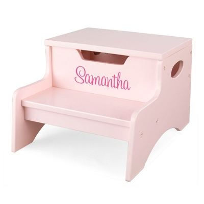 Petal Little Stepper Storage Step Stool with Pink Name - Children's Furniture