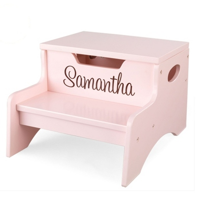 Petal Little Stepper Storage Step Stool with Brown Name - Children's Furniture