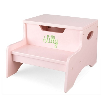 Petal Little Stepper Storage Step Stool with Lime Name - Children's Furniture
