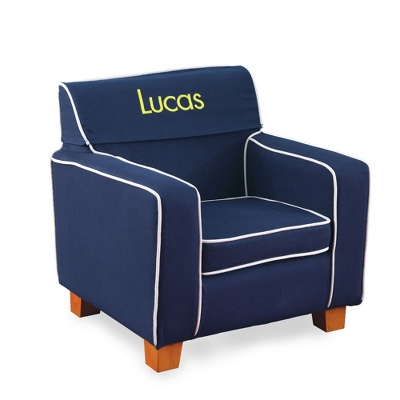 Navy Little Reader Chair with Yellow Name - UPC 825008351844