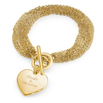 Personalized Engraved Bracelet Gold Womens