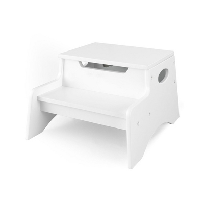 White Little Stepper Storage Step Stool with No Name