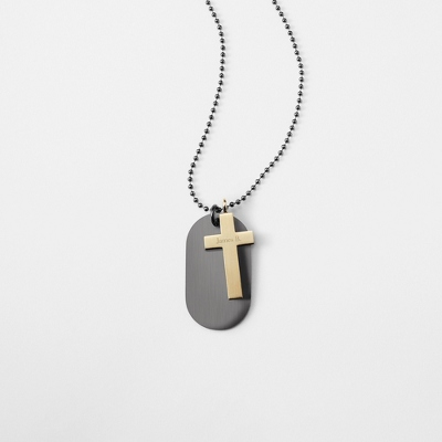 Gunmetal & Gold Cross Dog Tag- Vertical with complimentary Tri Tone Valet Box - Men's Jewelry