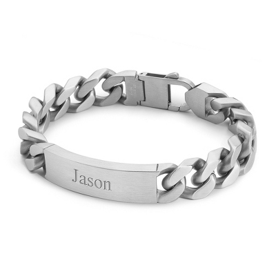 "Men's 9.5"" Large Link Stainless Steel ID Bracelet with complimentary Weave Texture Valet Box - Men's Bracelets"